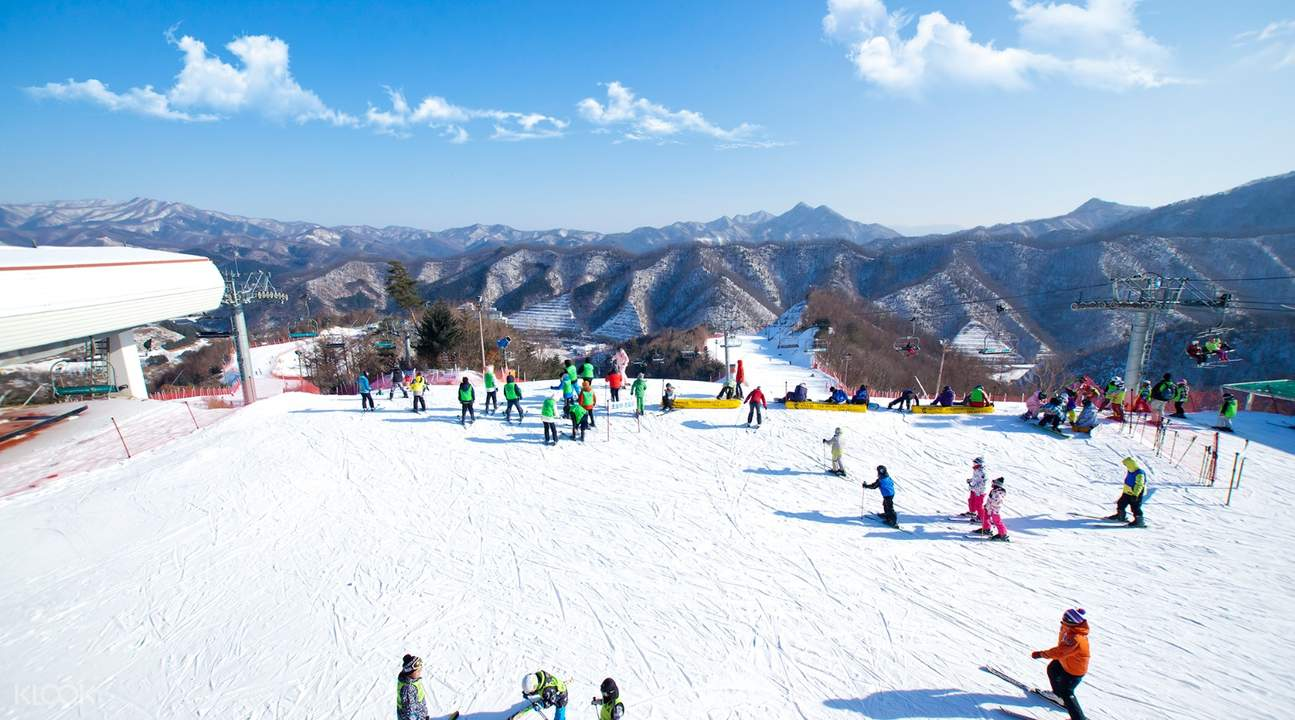 skiers at the Elysian Gangchon Ski Resort